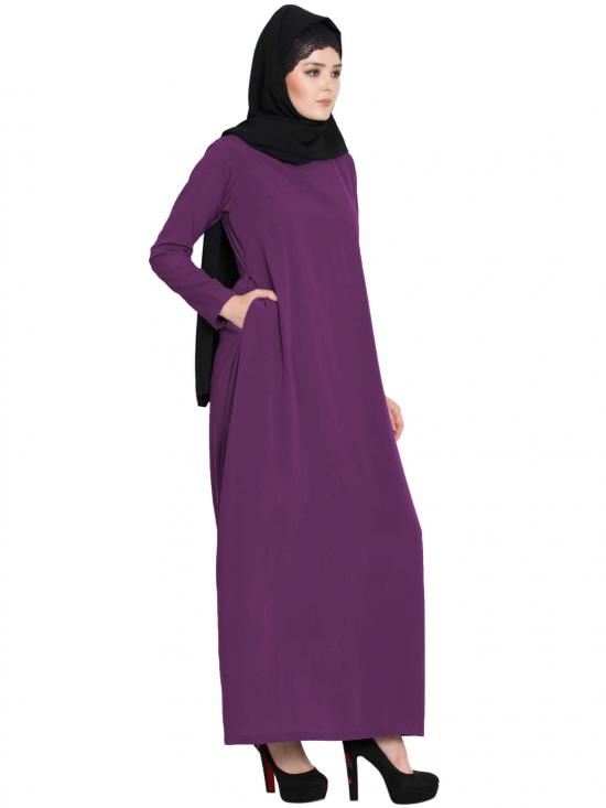 Nida Matte Simple A Line Abaya with Side Pockets in Purple