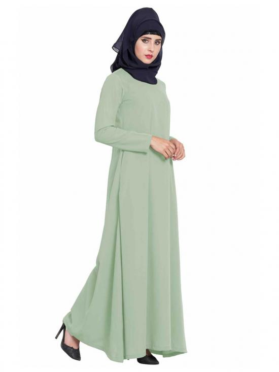 Nida Matte Simple A Line Abaya with Side Pockets in Sea Green
