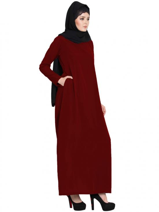 Nida Matte Simple A Line Abaya with Side Pockets in Maroon