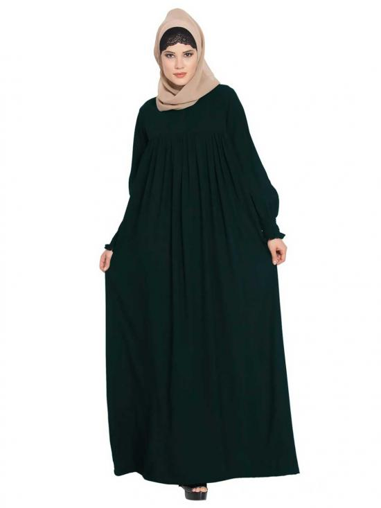 Mushkiya Abaya in Nida Matte with a Perfect Balance in Green