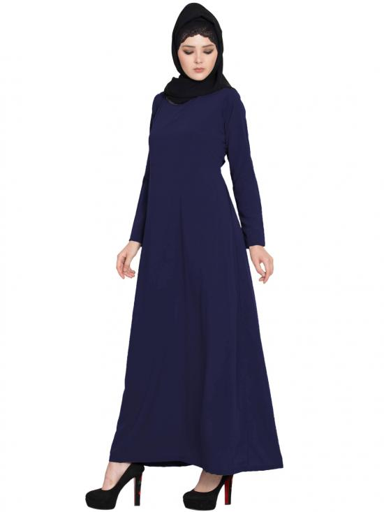 Nida Matte Simple A Line Abaya with Side Pockets in Navy Blue