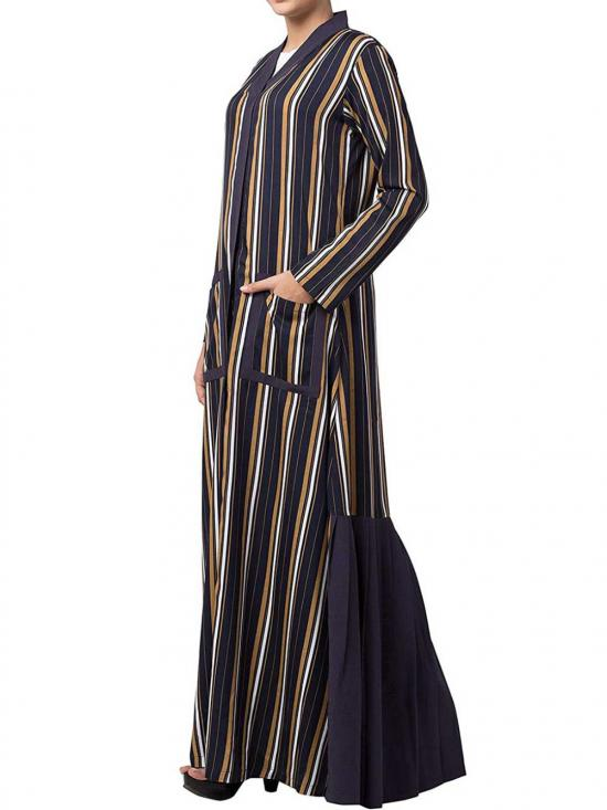 Crepe & Poly Moss  Long Dress With Front Pockets and Contrast Pleated Bottom In Blue & Multi Colour