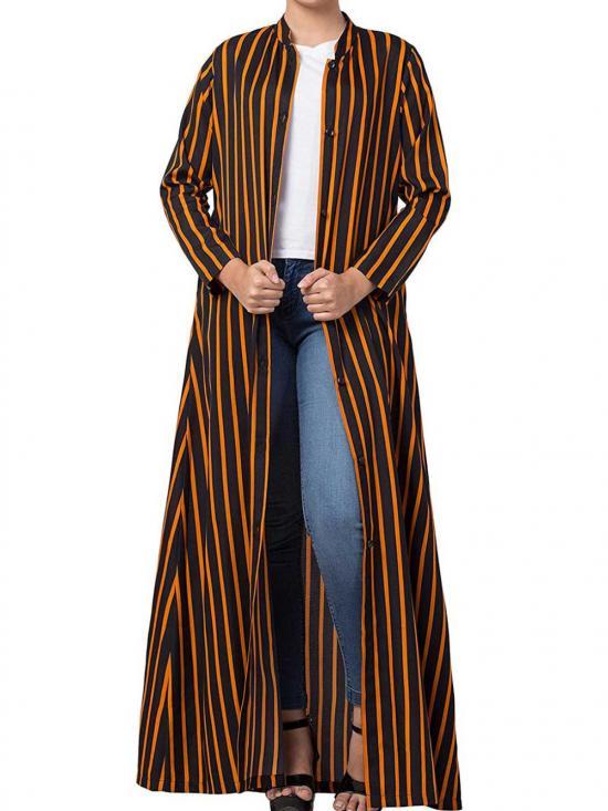 Crepe  Long Abaya With  Stripes & Side Pockets In Black & Orange