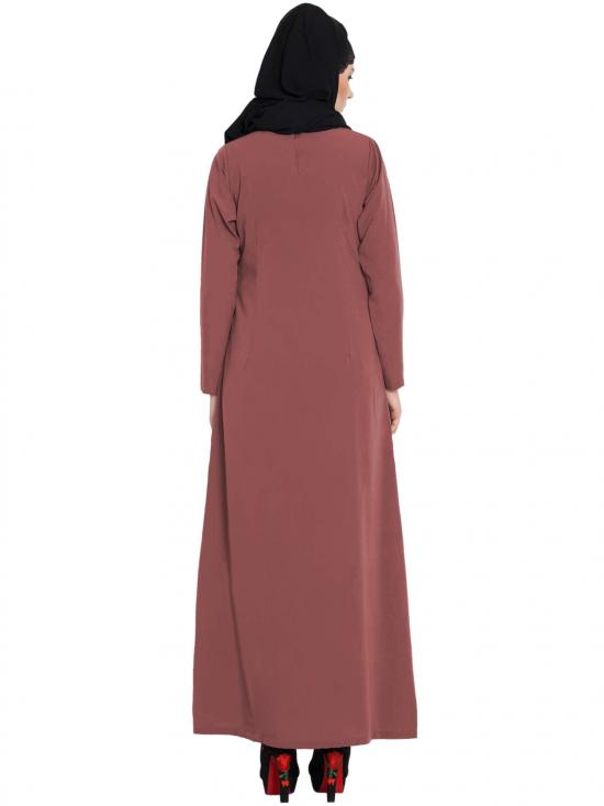 Nida Matte Simple A Line Abaya with Side Pockets in Rust Dull
