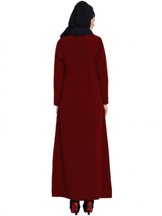 Mushkiya Nida Matte Simple A Line Abaya with Side Pockets in Maroon