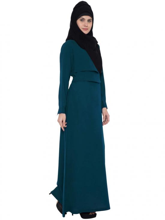 Mushkiya Nida Matte Abaya with Multi Layered in Teal