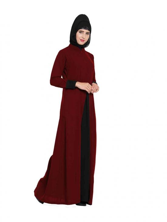 Nida Matte Abaya with Pockets in Maroon and Black