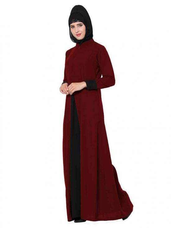 Nida Matte Abaya with Pockets in Maroon and Black