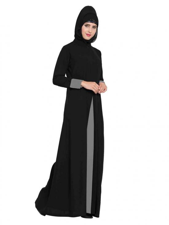 Nida Matte Abaya with Pockets in Black and Grey