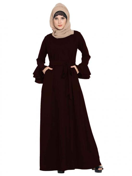 Nida Matte Abaya With Double Layers Of Bell Sleeves And Matching Belt In Wine