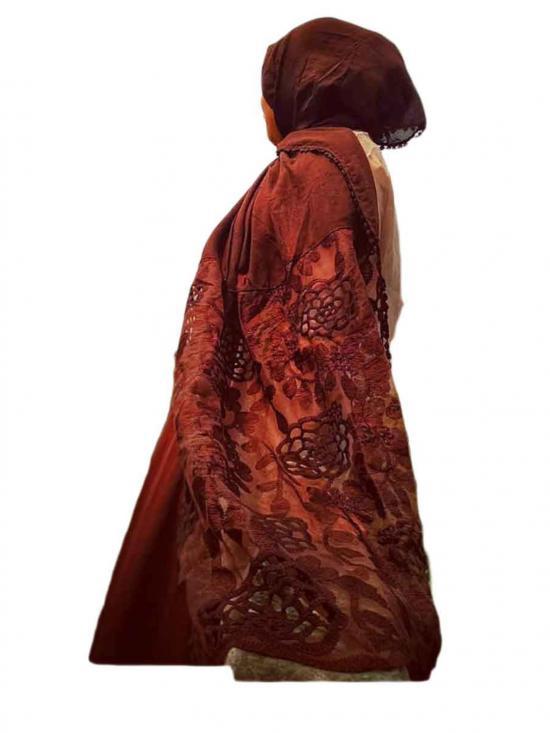 Stole for Women Designer Cotton Half Net Stole Brown