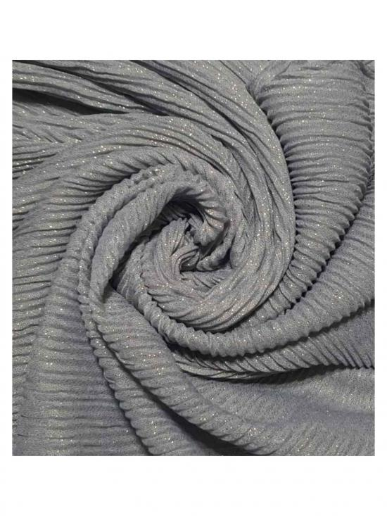 Crinkled Cotton Mesh Sparkling Stole in Grey