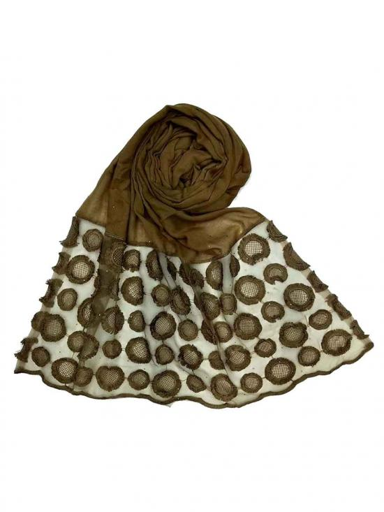 Designer Flower Diamond Studed Stole In Brown
