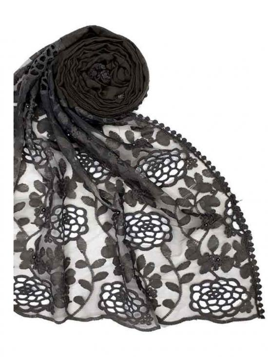 Stole for Women Designer Cotton Half Net Stole Grey
