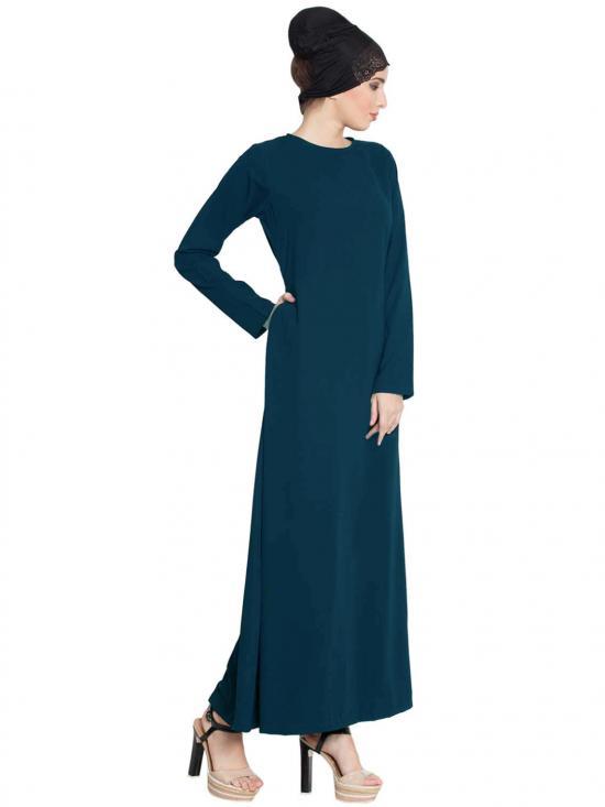 Nida Matte Simple A Line Abaya with Side Pockets in Dark Teal
