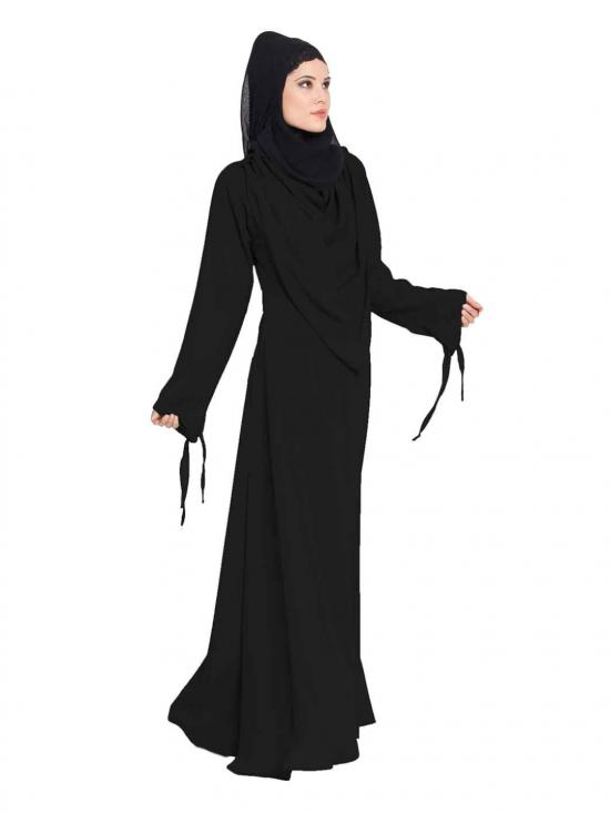 Latest Design Nida Matte Abaya with Detachable Shawl in Black