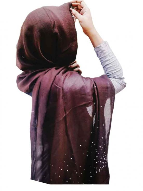 Stole For Women Designer Due Drop Diamond Studed Cotton Stole Brown