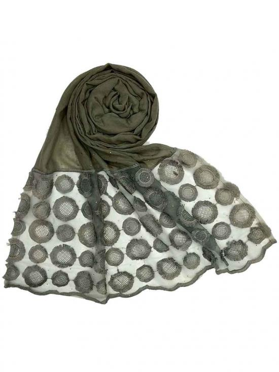 Stole for Women Designer Flower Diamond Studed Stole Grey