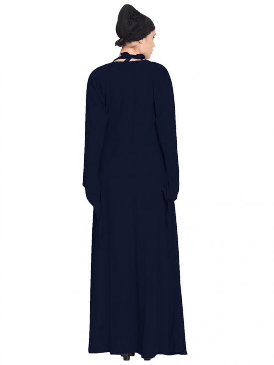 Latest Design Nida Matte Abaya with Detachable Shawl in Navy Blue