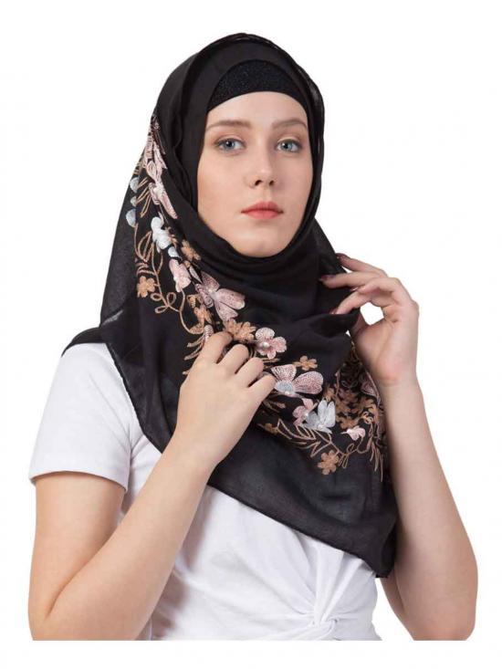 Designer Flower Cotton Stole in Black
