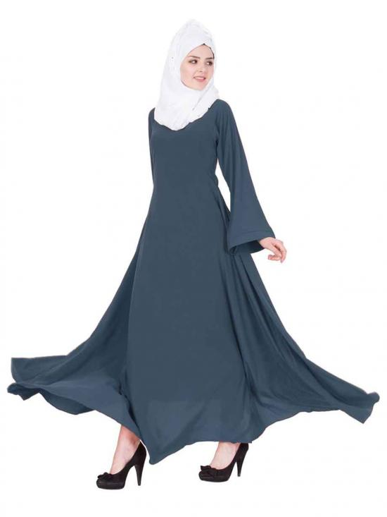 Mushkiya Nida Matte Umbrella Flare Abaya with Biased Cut in Grey