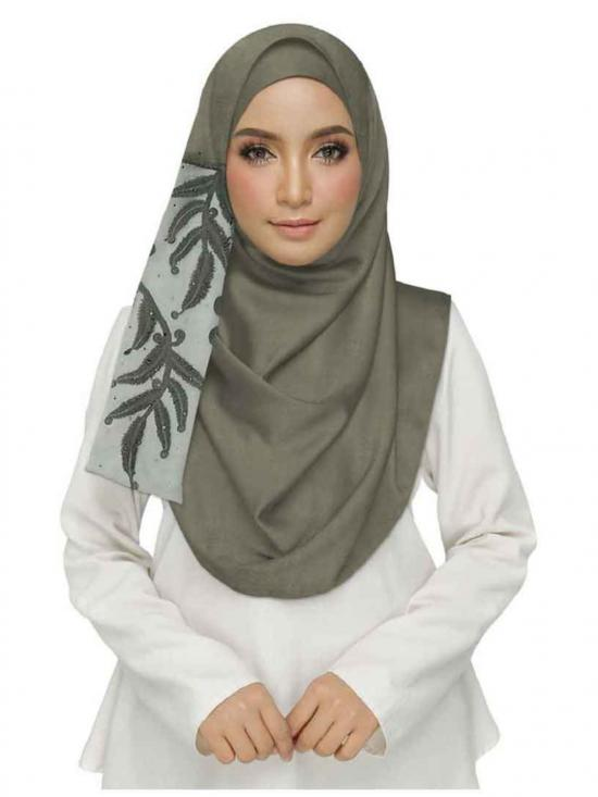 Premium Designer Leaf Cotton Stole Grey