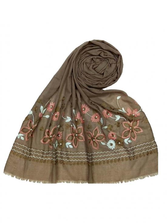 Designer Flower Cotton Stole In Brown