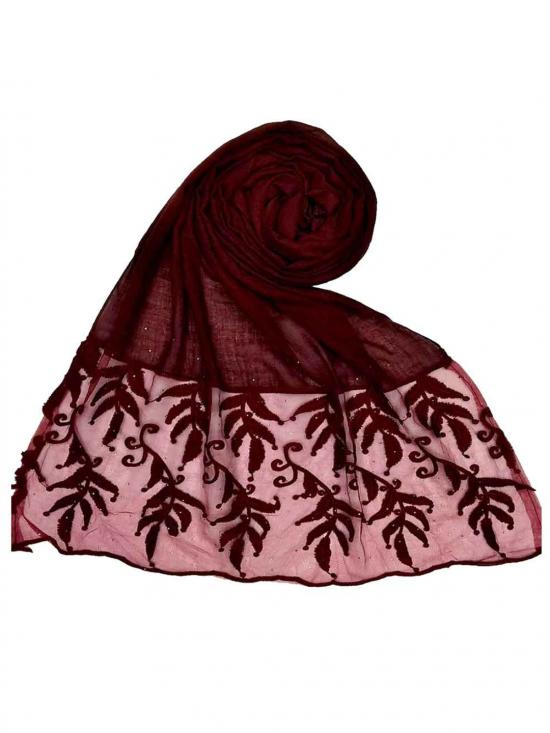 Stole for Women Premium Designer Leaf Cotton Stole Maroon