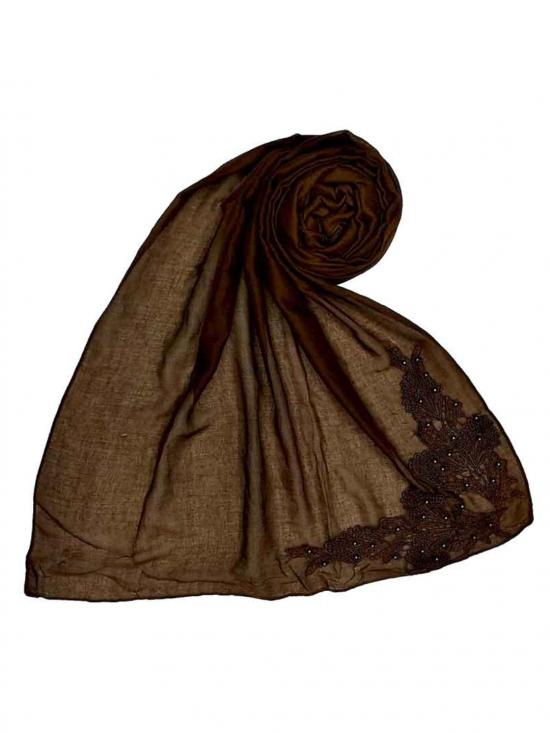 Most Sold Designer Diamond Studed Stole In Brown