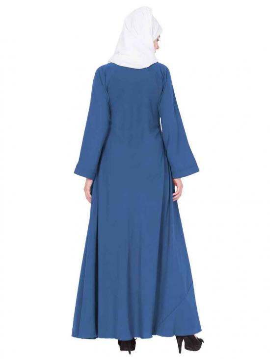 Nida Matte Umbrella Flare Abaya with Biased Cut in True Blue