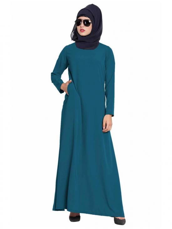 Mushkiya Nida Matte Simple A Line Abaya with Side Pockets in Teal