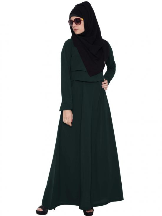 Mushkiya Nida Matte Abaya with Multi Layered in Green
