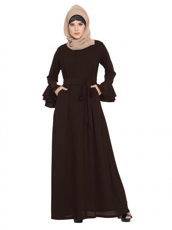 Mushkiya Nida Matte Abaya with Double Layers of Bell Sleeves and Matching Belt in Brown