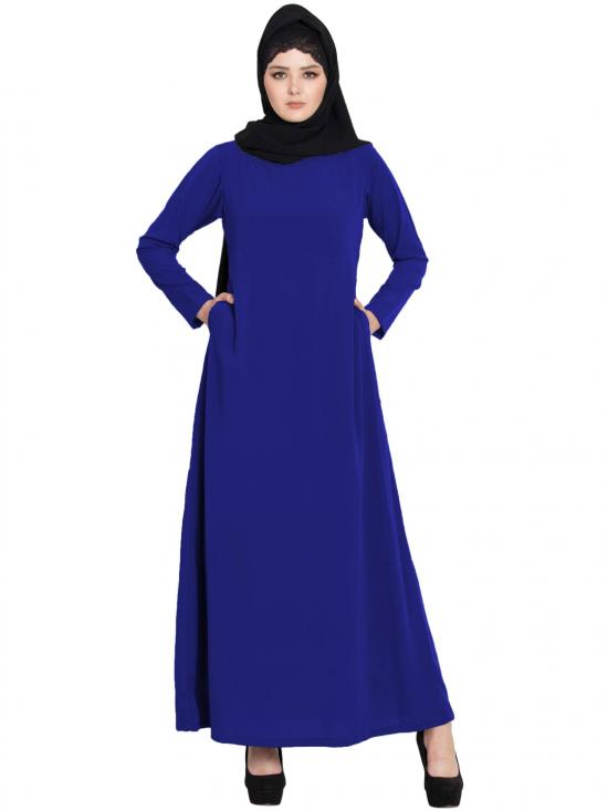 Mushkiya Nida Matte Simple A Line Abaya with Side Pockets in Royal Blue