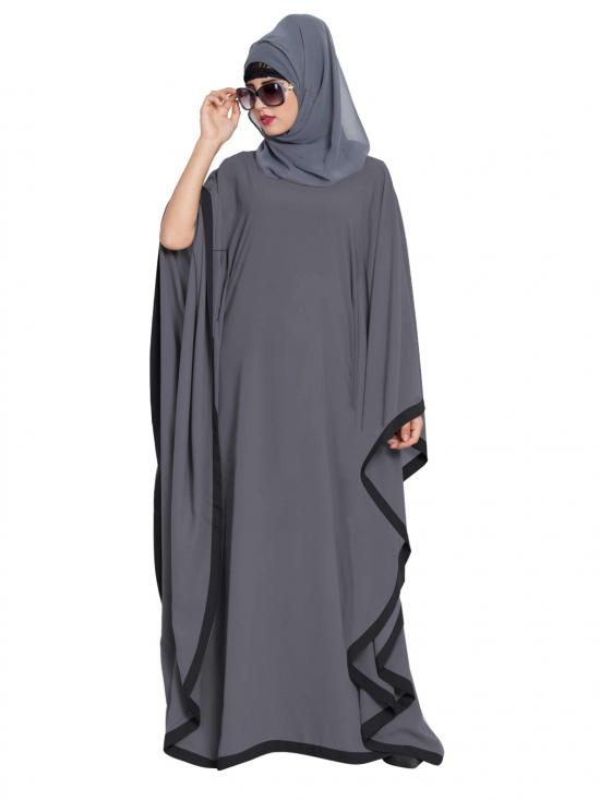 Mushkiya Nida Matte Farasha Dual Kaftan Abaya in Grey and Black
