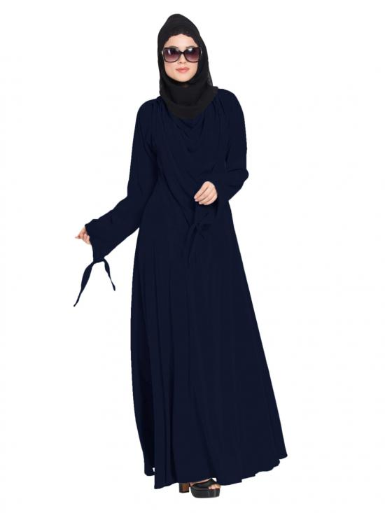 Mushkiya Latest Design Nida Matte Abaya with Detachable Shawl in Navy Blue