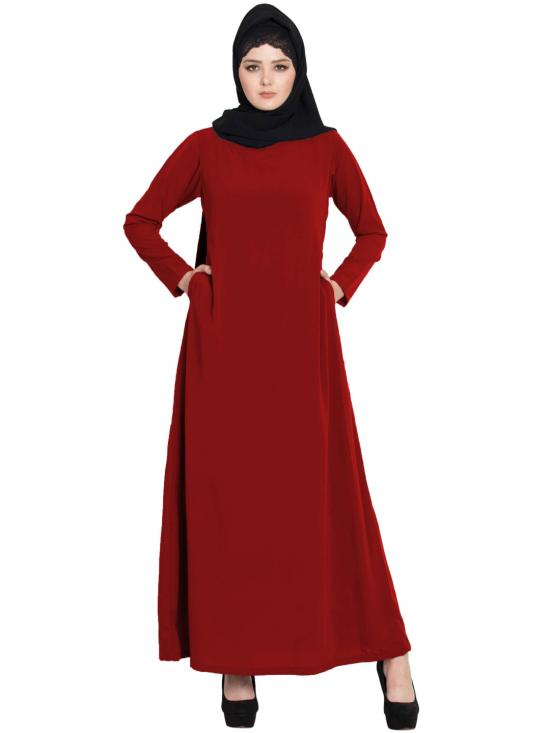 Nida Matte Simple A Line Abaya With Side Pockets In Red
