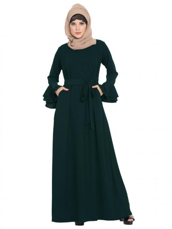 Mushkiya Nida Matte Abaya with Double Layers of Bell Sleeves and Matching Belt in Green