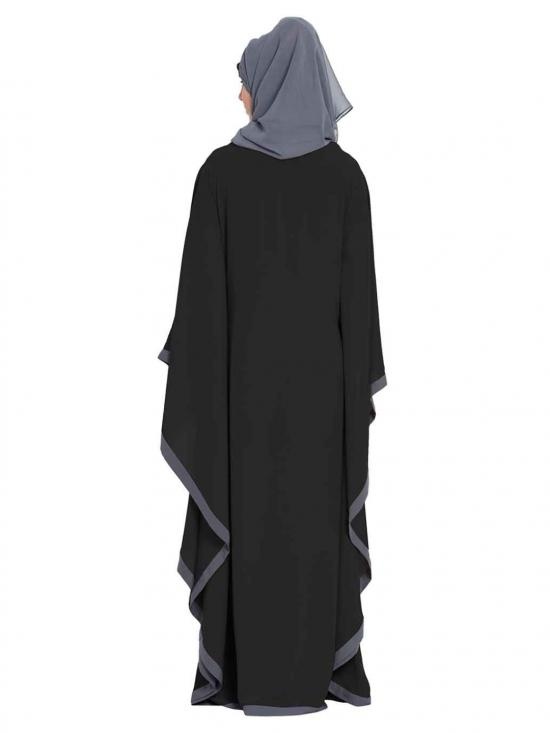 Nida Matte Farasha Kaftan Abaya in Black and Grey