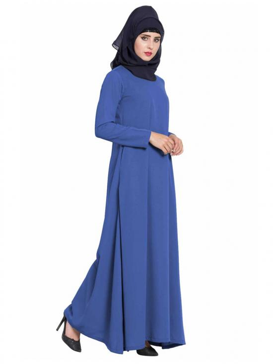 Nida Matte Simple A Line Abaya with Side Pockets in True Blue