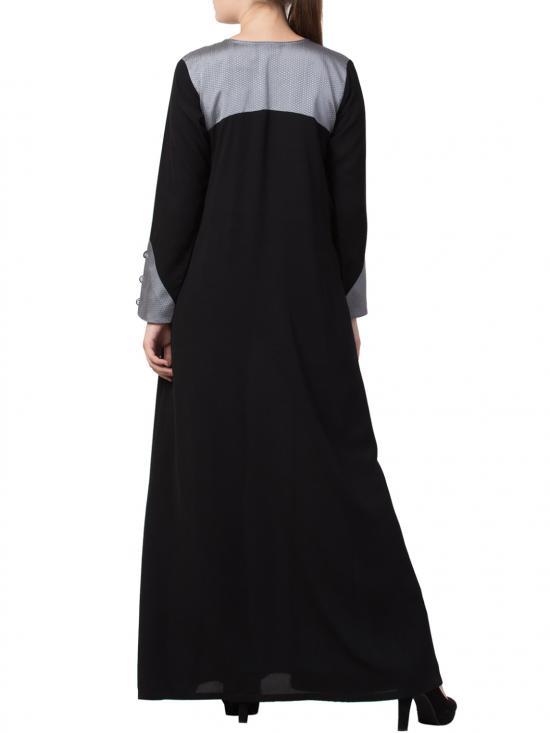 Mushkiya Nida Matte Abaya with Front Pockets and Matching Stole in Black