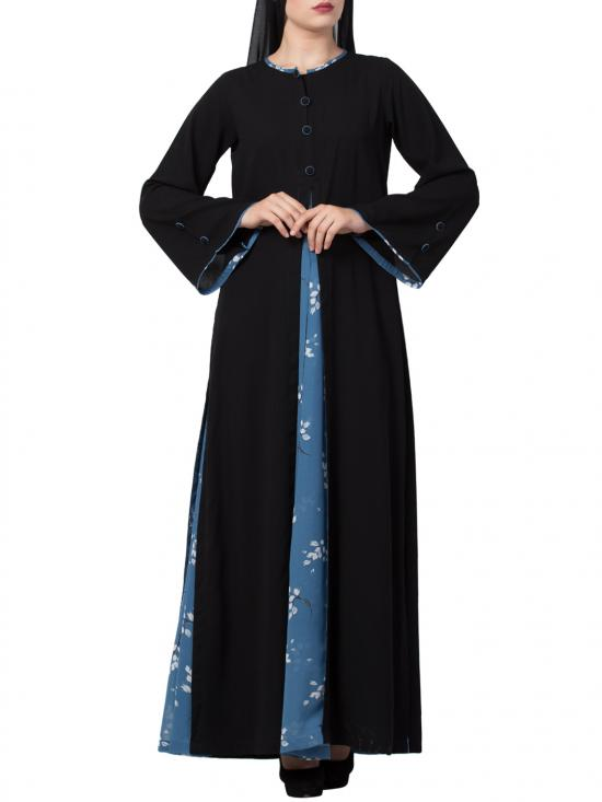 Nida Matte Umbrella Like Flare Abaya With Matching Fabric Buttons In Black