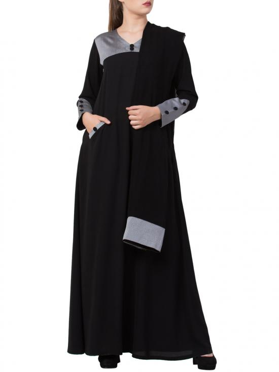 Nida Matte Abaya With Front Pockets And Matching Stole In Black
