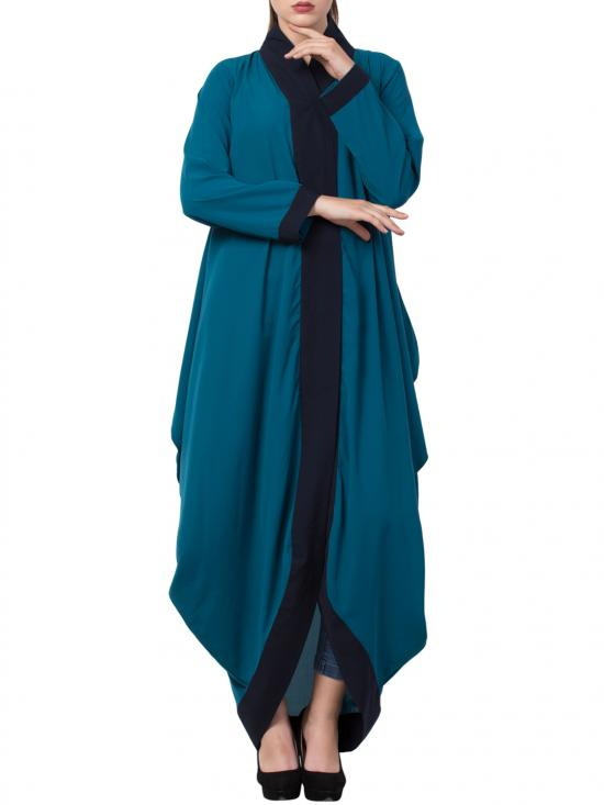 Mushkiya Nida Matte Stylish and Trendy Abaya Dress in Teal