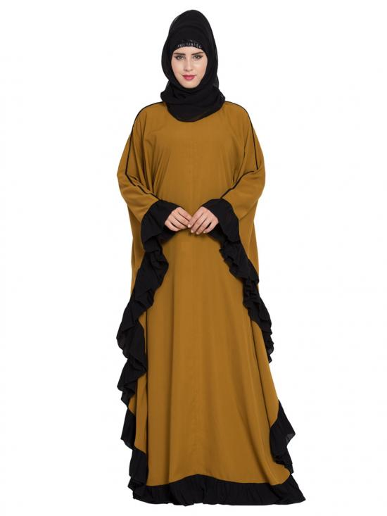 Nida Matte Designer Kaftan Abaya with Ruffled Border in Golden Brown and Black