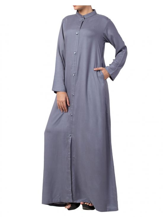 Mushkiya Cotton Front Open Abaya in Grey