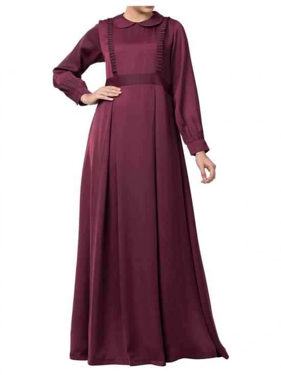 Premium Nida Latest Design Abaya In Burgundy