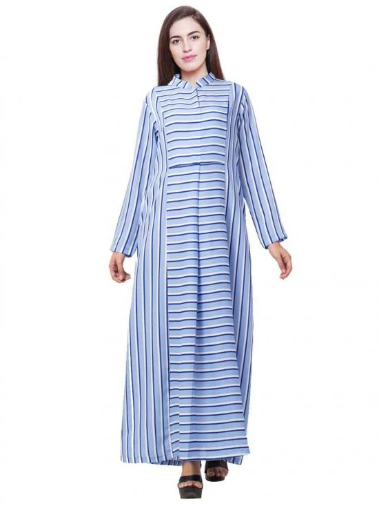 Heather Moss Striped Dress in Sky blue
