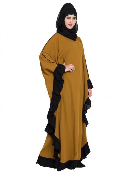 Nida Matte Designer Kaftan Abaya with Ruffled Border in Golden Brown and Black