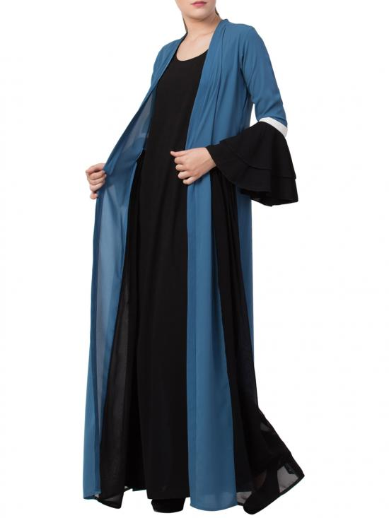 Nida Matte Abaya Like Dress with Attached Shrug and a Belt in French Blue and Black